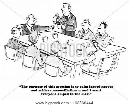 Black and white business cartoon about trying to calm nerves by drinking lots of coffee.