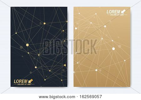 Modern vector template for brochure Leaflet flyer advert cover catalog magazine or annual report. A4 size. Business, science, medical design. Golden cybernetic dots. Lines plexus. Card surface