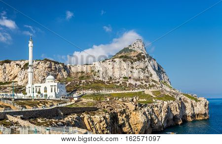 Rock of Gibraltar and Mosque seen from Europa Point in Gibraltar, a British overseas territory