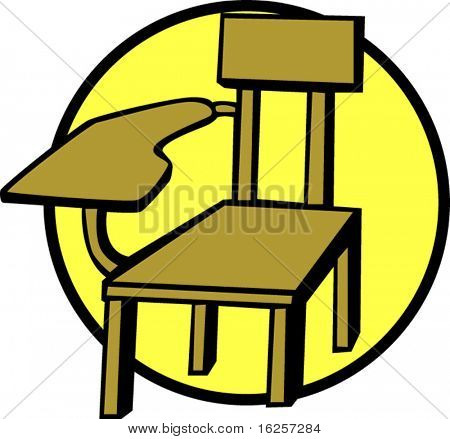 wooden school chair color vector illustration