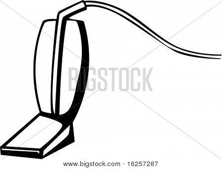 Staubsaugen schwarz-weiß Vektor-illustration