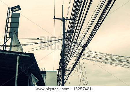 Power line support insulators and wires. Appearance of a design. Assembly and installation of new support and wires of a power line