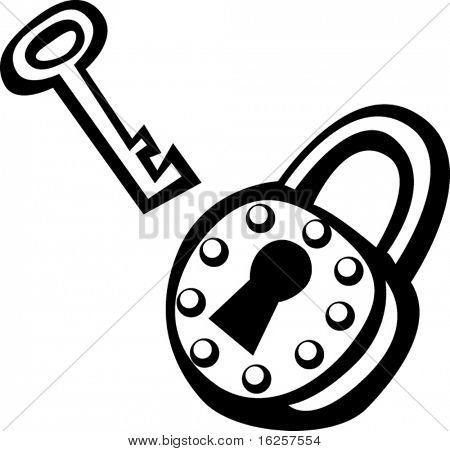 vintage padlock and key