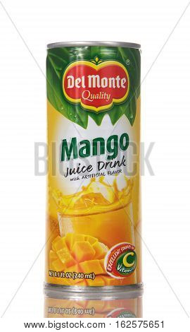Alameda CA - December 20 2016: 8.1 fluid ounce can of Del Monte brand Mango Fruit Juice Drink. Del Monte was created in 1886 and is located in San Francisco CA.