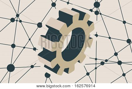 Gear model on blue background. Precision machinery relative backdrop. Molecule And Communication Background. Vector brochure or report design template. Connected lines with dots.