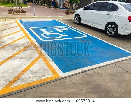 Parking spaces for disabled people in the gas station.