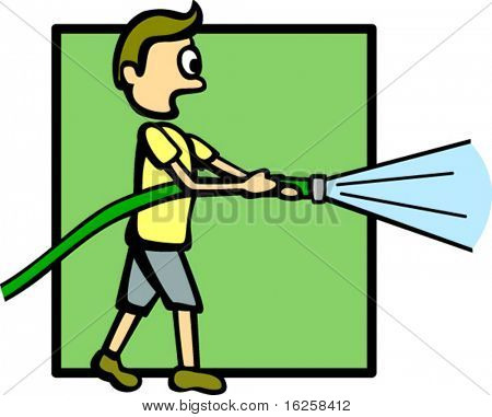 person with a water hose
