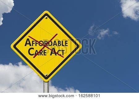Repealing and replacing the Affordable Care Act healthcare insurance Yellow warning highway road sign with words Affordable Care Act crossed out with sky background 3D Illustration