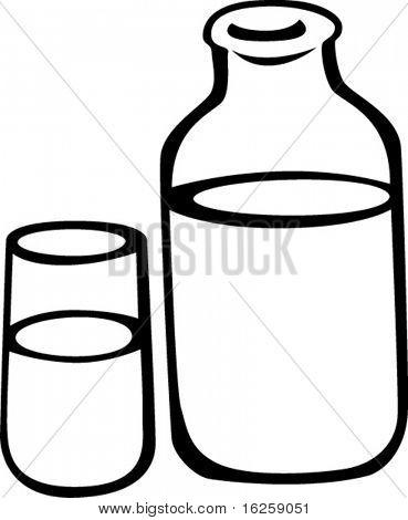 vidrio opalino y botella