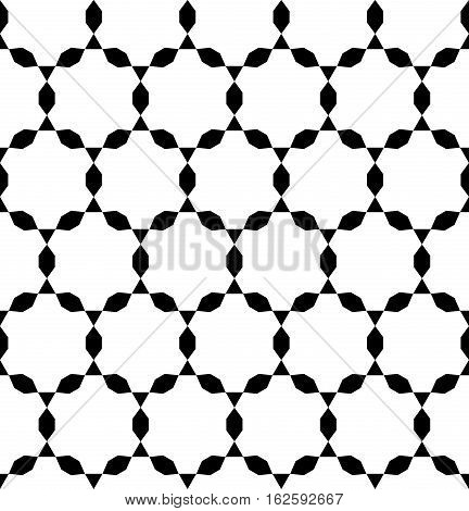 Vector monochrome seamless pattern, simple ornamental background, repeating geometric tiles, black & white. Endless texture. Design for tileable print, fabric, cloth, apparel, textile, decoration, digital, web
