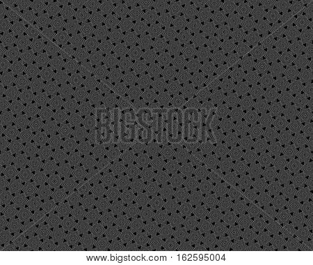 Vector monochrome seamless pattern, rotated polygons white lines & angled figures on black background. Endless ornamental geometric texture for tileable print, identity, decor, textile, digital, web