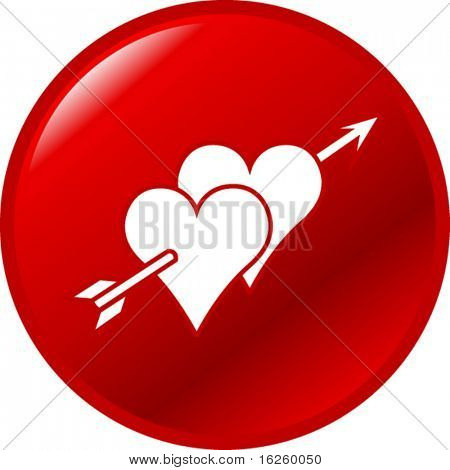 two hearts in love button