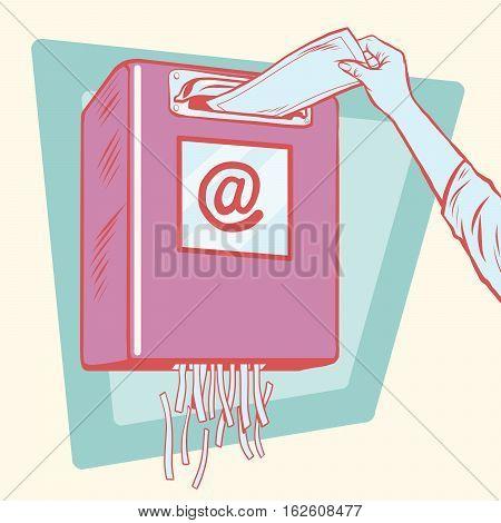 Spam, the mailbox and a paper shredder, pop art retro vector illustration
