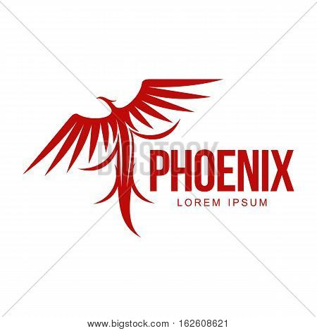 Stylized graphic phoenix bird resurrecting in flame logo template, vector illustration isolated on white background. Phoenix in fire logotype template, revival, rebirth, resurrection concept