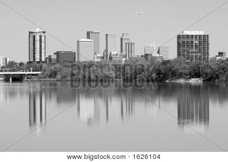Black And White Tulsa Skyline