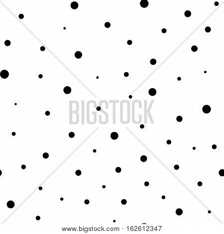 Vector monochrome seamless pattern. Modern stylish texture. Repeating abstract background with chaotic dots. Simple graphic design for prints, wrapping, fabric, textile decor. Tileable printing