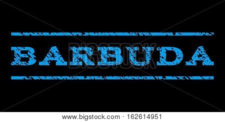Barbuda watermark stamp. Text caption between horizontal parallel lines with grunge design style. Rubber seal stamp with dust texture. Vector blue color ink imprint on a black background.
