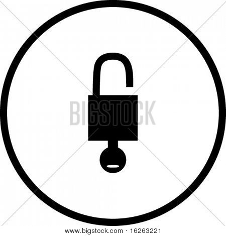 open padlock with key symbol