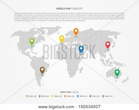 World map infographic with colorful pointers vector illustration. Modern world map with pins graphic design. International world map layout. Global map creative concept.
