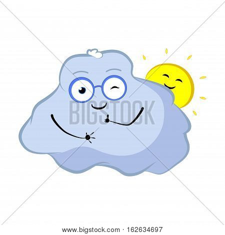 Winking cloud cartoon character. Lovely cloud and sun smile with thumbs up. Sky object character in good mood. Weather forecast icon. Cloud storage concept image. Cloud with funny face and glasses