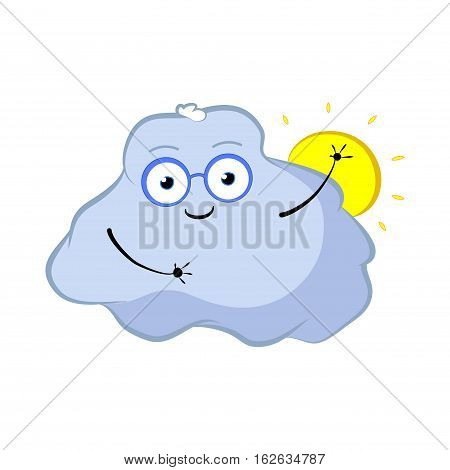 Funny cloud character with sun. Cartoon vector illustration for weather forecast. Morning sky cloud and sun. Lovely cloud in glasses waving hand. Cloud storage concept image handdrawn in nursery style