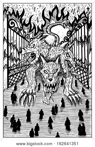 Cerberus. Hellhound and departed souls. Fantasy magic creatures collection. Hand drawn vector illustration. Engraved line art drawing, graphic mythical doodle. Template for card game, poster