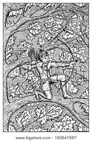 Elf with bow and arrows on tree in forest. Fantasy magic creatures collection. Hand drawn vector illustration. Engraved line art drawing, graphic mythical doodle. Template for card game, poster