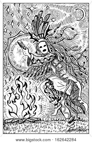 Shaman or warlock with drum by fire. Fantasy magic creatures collection. Hand drawn vector illustration. Engraved line art drawing, graphic mythical doodle. Template for card game, poster