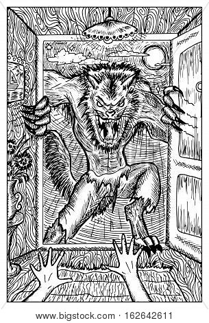 Werewolf or wolfman against full moon. Fantasy magic creatures collection. Hand drawn vector illustration. Engraved line art drawing, graphic mythical doodle. Template for card game, poster