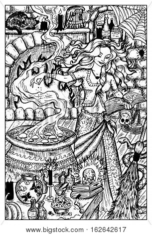 Beautiful witch practicing witchcraft. Fantasy magic creatures collection. Hand drawn vector illustration. Engraved line art drawing, graphic mythical doodle. Template for card game, poster