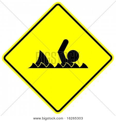 swimmer and shark sign