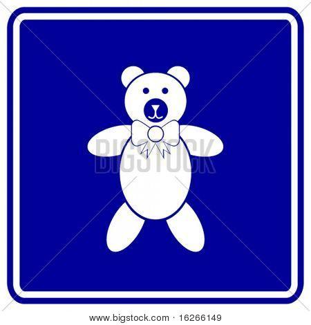 plush bear toy sign