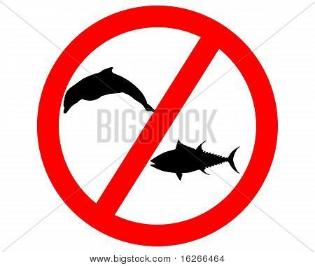 Prohibition Sign Tuna Dolphin Fishing