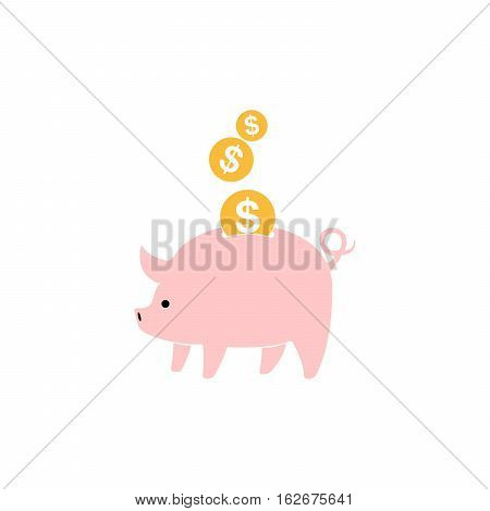 Pink piggy bank and gold coins isolated. Piggy bank with falling euro coins in flat design. Vector illustration.