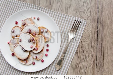 Home Made Pancakes With Cranberries And Sugar Powder. Top View, Flat Lay, View From Above
