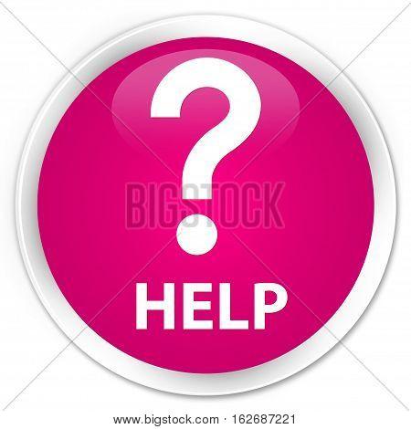 Help (question Icon) Premium Pink Round Button