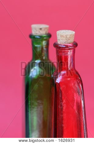Red And Green Glass Bottles