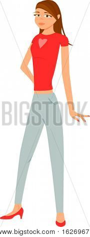 girl with red shirt and blue pants on a white background