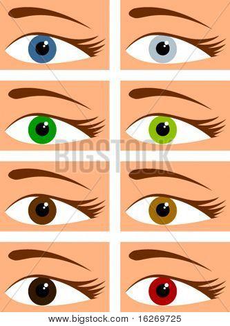 Augen in verschiedenen Farben