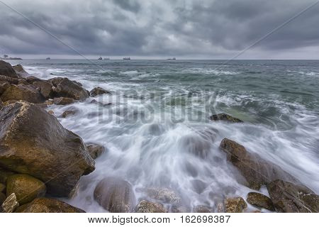 amazing background bay beach beautiful beauty black blue bright bulgaria calm canvas cloud cloudscape coast coastline colorful dramatic draw exposure horizon impressive landscape lights long magnificent mystery nature outdoor painting power red reflection
