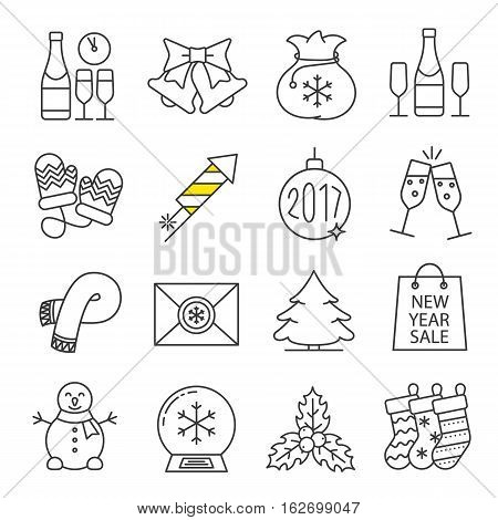 Christmas and New Year linear icons set. Champagne, jingle bells, snowman, 2017 Xmas tree ball, firework, mittens, scarf, fir tree. Thin line contour symbols. Isolated vector illustrations