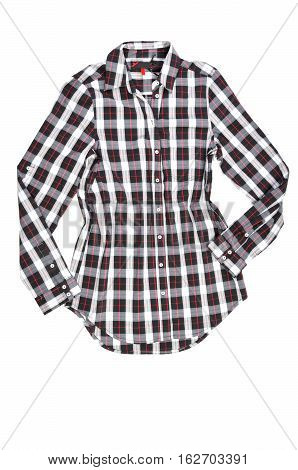tartan shirt on white background. Red tartan cowboy shirt.