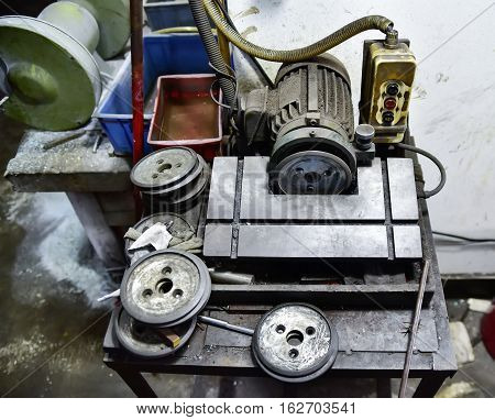 Old dirty obsolete but still functional motor
