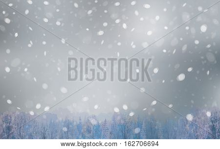 Vector winter landscape snowfall sky and forest background.