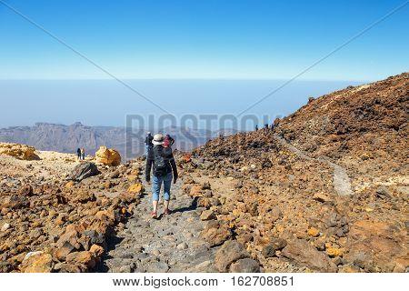 El Teide, Tenerife, June 06, 2015: Unidentified Tourists Are Walking On The Top Of El Teide Volcano,