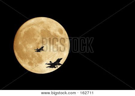 Orange Moon And F16 Jets
