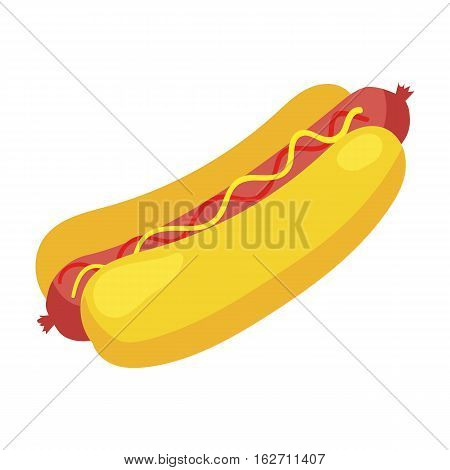 Fast food hot dog icon. Vector illustration for restaurant menu design. Hotdog image. Sausage, mustard, bunery isolated on white background. American unhealthy diet lunch