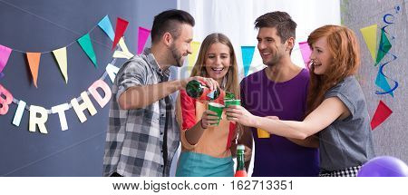 Friends Attending Birthday Party