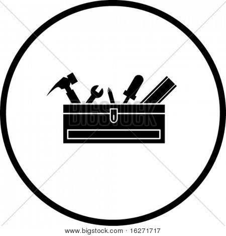 closed toolbox with tools symbol