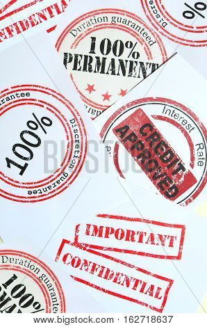 Group of print of rubber stamps with text on its